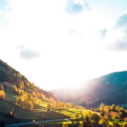 Aussicht vom Balkon - Sonnenaufgang im Herbst